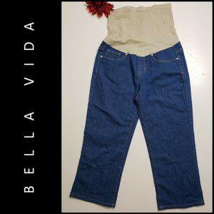 bella vida woman maternity denim crop jeans